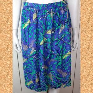 Vintage colorful birds skirt - light fabric summer